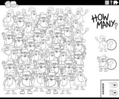 página do livro para colorir do jogo educativo contando as cláusulas do papai noel vetor