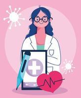 conceito de visita médica online com médico e smartphone vetor