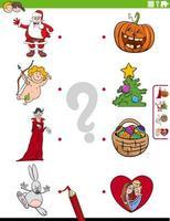 tarefa educacional de combinar personagens e símbolos de feriados vetor