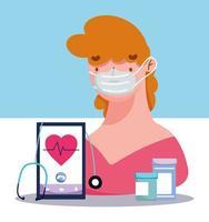 conceito de visita médica online com paciente e medicação vetor