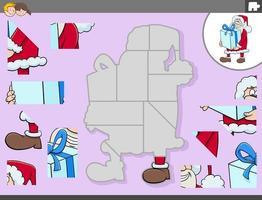 jogo de quebra-cabeça com personagem de natal do papai noel vetor