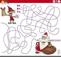 jogo educacional de labirinto com personagens de desenhos animados de natal vetor