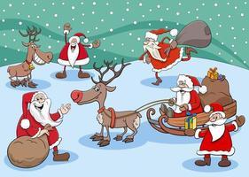 grupo de personagens do feliz papai noel na época do natal vetor