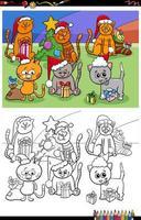 grupo de gatinhos na página do livro para colorir de natal vetor