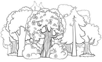 página de livro para colorir de desenho animado de floresta mista vetor
