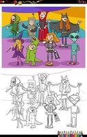 página do livro para colorir do grupo dos personagens do cartoon