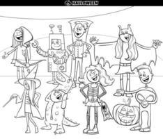 personagens de desenhos animados na página do livro para colorir da festa de halloween