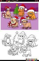 grupo de cães na página do livro para colorir de natal vetor