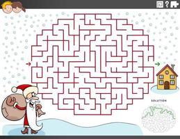 jogo de labirinto com o papai noel na época do natal vetor