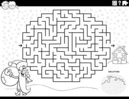 jogo de labirinto com página de livro para colorir de papai noel vetor