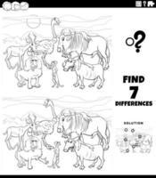 diferenças jogo educacional com animais para colorir página vetor