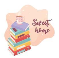 pilha de livros com letras de lar doce vetor