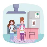 mulheres jovens cozinhando na cozinha vetor