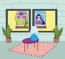 interior da casa com pessoas olhando pela janela vetor