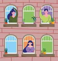 pessoas cumprimentando pela janela vetor