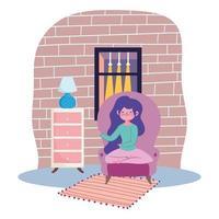 garota feliz sentada em uma cadeira dentro de casa vetor