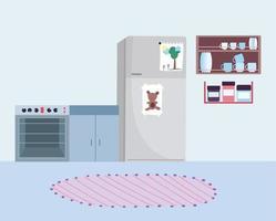 interior aconchegante da cozinha vetor