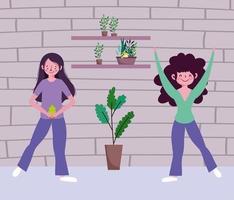 garota feliz com plantas dentro de casa vetor