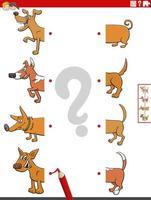 combinar metades de fotos com cães - tarefa educacional vetor