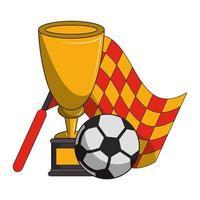 Copa e bandeira do torneio de futebol
