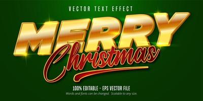 efeitos de texto editáveis no estilo natal dourado e vermelho vetor