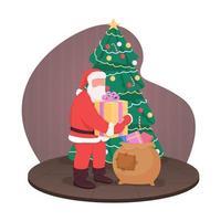 Papai Noel com presentes, banner da web de vetor 2d, pôster
