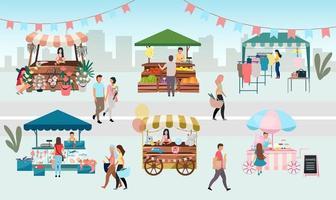 ilustração em vetor plana feira de rua.