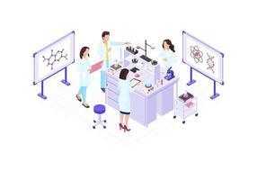 cientistas, químicos, geneticista, trabalhadores de pesquisa ilustração vetorial de cor isométrica