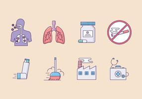 Os sintomas da asma Icon Set vetor