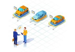 ilustração isométrica de concessionária de automóveis. locação de veículos.