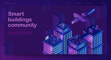banner isométrico de edifícios inteligentes vetor