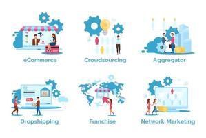 conjunto de ilustrações vetoriais plana de modelo de negócios. vetor