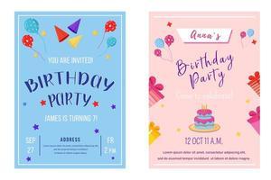 conjunto de modelos de folheto de festa de aniversário. vetor