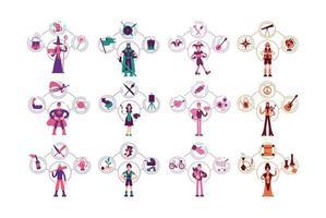 arquétipos de personalidade, conjunto de ilustrações vetoriais de conceito simples vetor
