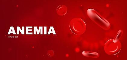 modelo de banner de vetor realista de anemia