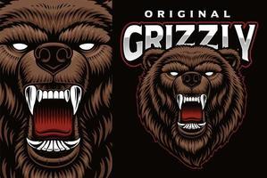 emblema colorido do mascote com urso pardo vetor