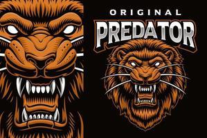 emblema do mascote colorido com leão que ruge vetor