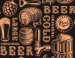 orane e preto retrô sem costura padrão com tema cerveja vetor