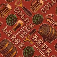 Padrão sem emenda colorido com tema de cerveja em estilo vintage vetor