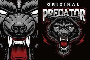 emblema do mascote colorido com um lobo vetor
