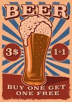 poster vintage de cerveja com um copo de cerveja