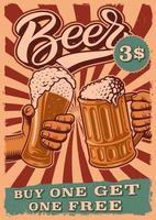 pôster vintage de cerveja com pessoas batendo os copos