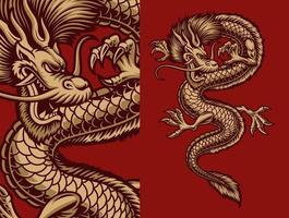 dragão asiático em ouro no vermelho vetor