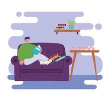 homem lendo livro no sofá