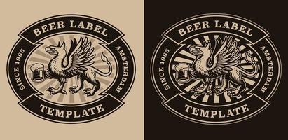 emblema de cerveja vintage com um grifo segurando uma caneca de cerveja