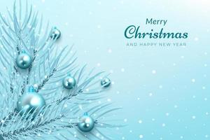 fundo de celebração de natal com galhos de árvores azuis e enfeites vetor