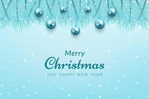 celebração de natal fundo azul galhos de árvores e enfeites vetor