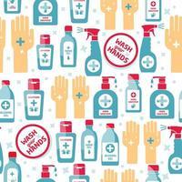 desinfetante para as mãos, garrafa de álcool para padrão sem emenda de higiene vetor