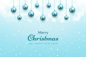 fundo de celebração de natal com neve e enfeites azuis vetor