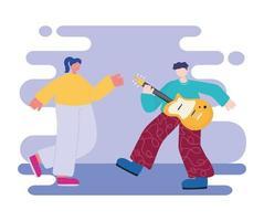 homem tocando guitarra elétrica e mulher dançando